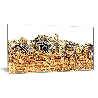 Designart Zebra Herd Large Animal Canvas Artwork, (PT2365-40-20)