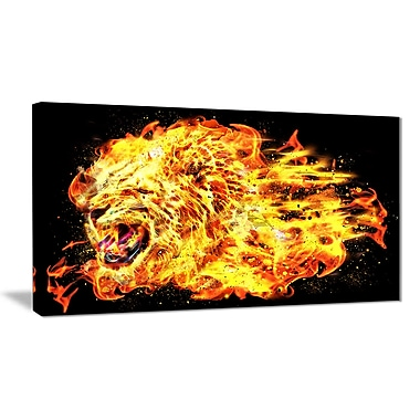 Designart Blazing Lion Large Animal Canvas Artwork, (PT2366-40-20)