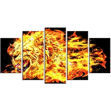 Designart Blazing Lion Large Animal Canvas Artwork, (PT2366-373)