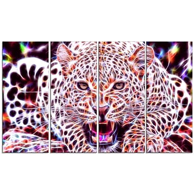 Designart Glowing Wild Cat Large Animal Canvas Artwork, (PT2367-271)