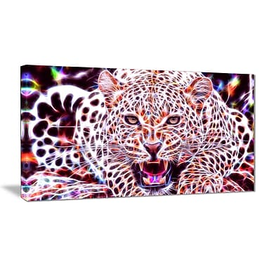 Designart Glowing Wild Cat Large Animal Canvas Artwork, (PT2367-32-16)
