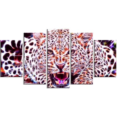 Designart Glowing Wild Cat Large Animal Canvas Artwork, (PT2367-373)