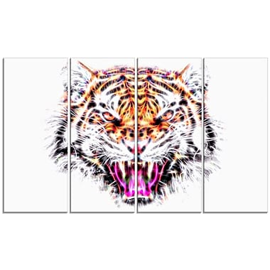Designart Ferocious Feline Large Animal Canvas Artwork, (PT2368-271)