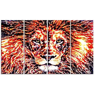 Designart Lively Lion Large Animal Canvas Artwork, (PT2369-271)