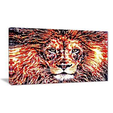 Designart Lively Lion Large Animal Canvas Artwork, (PT2369-32-16)