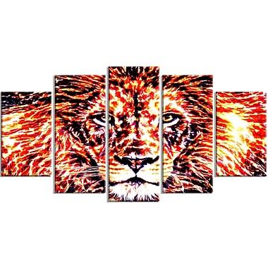 Designart Lively Lion Large Animal Canvas Artwork, (PT2369-373)