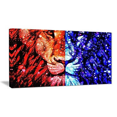 Designart King of the Jungle Canvas Wall Art, (PT2401-32-16)