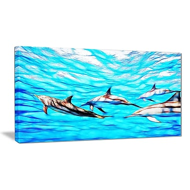 Designart Family of Dolphins Ocean Art on Canvas Canvas Art Print, 40