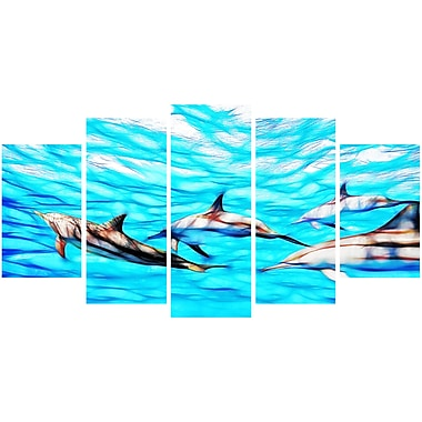 Designart Family of Dolphins Ocean Art on Canvas, (PT2403-373)