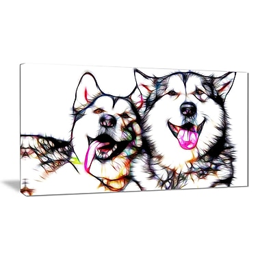 Designart Husky Buddies Canvas Art, (PT2409-32x16)