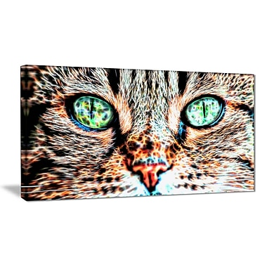 Designart Windows to the Soul Cat Eyes Canvas Art, (PT2411-32x16)