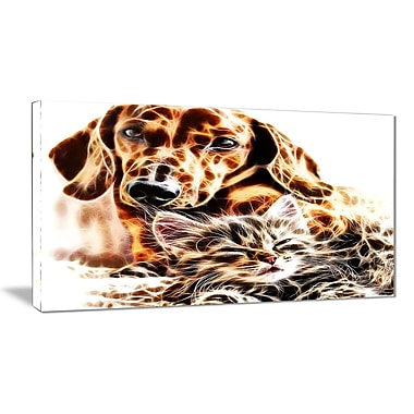 Designart Best Buddies Cat & Dog Canvas Art, (PT2413-32x16)