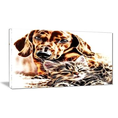 Designart Best Buddies Cat & Dog Canvas Art Print, (PT2413-32-16)