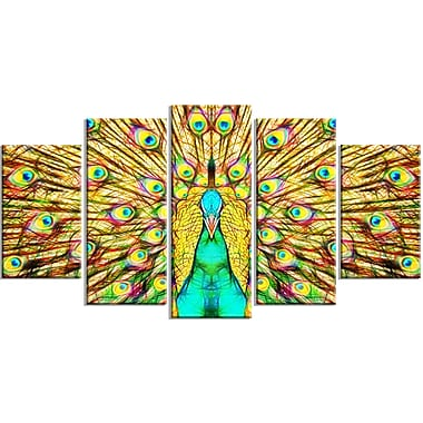 Designart Flashy Feathers Peacock Canvas Art Print, (PT2414-373)