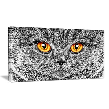 Designart Grey Cat Animal Art Canvas, Multiple Sizes, (PT2416-32-16)