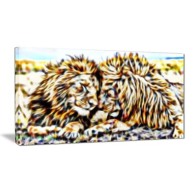 Designart Soul Mates Lion Animal Canvas Art, Multiple Sizes, (PT2422-32-16)