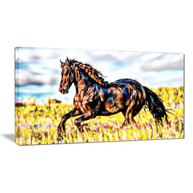 Designart Ride Free Horse Animal Art Canvas, Multiple Sizes, (PT2424-32-16)