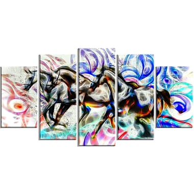 Designart Graffiti Horses Animal Canvas Art, Multiple Sizes, (PT2427-373)