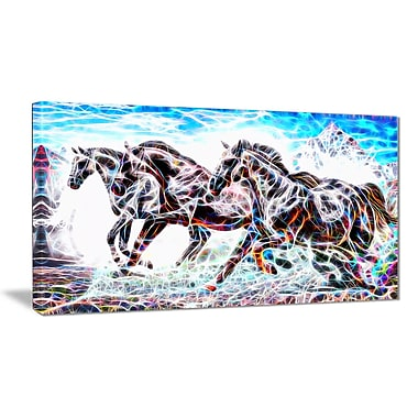 Designart Stampede Horse Animal Art Canvas, Multiple Sizes, (PT2429-32-16)