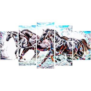 Designart Stampede Horse Animal Art Canvas, Multiple Sizes, (PT2429-373)
