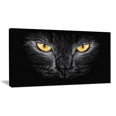 Designart Black Cat Eyes Animal Canvas Art, (PT2431-32-16)