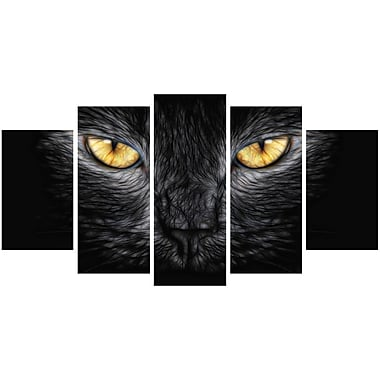 Designart Black Cat Eyes Animal Canvas Art, (PT2431-373)