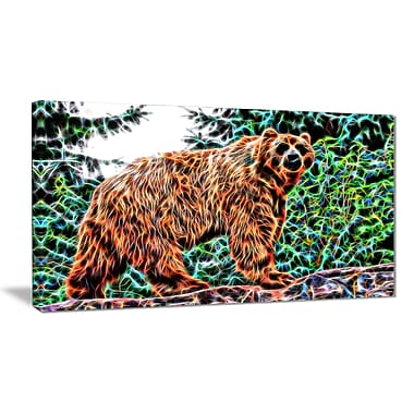 Designart Brown Bear Animal Canvas Art, Multiple Sizes, (PT2434-32-16)