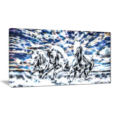 Designart Galloping Horses Animal Art Canvas, Multiple Sizes, (PT2435-32-16)