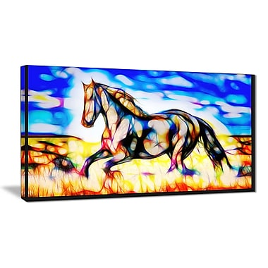Designart Black Beauty Stallion Horse Art, Multiple Sizes, (PT2436-32-16)