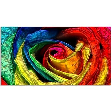 Designart – Rose colorée, impression sur toile d'animal, tailles variées (PT2439-32-16)