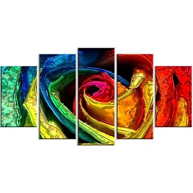 Designart – Rose colorée, impression sur toile d'animal, tailles variées (PT2439-373)