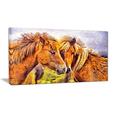 Designart Loving Horses Animal Art Canvas, Multiple Sizes, (PT2440-32-16)