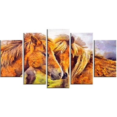 Designart Loving Horses Animal Art Canvas, Multiple Sizes, (PT2440-373)
