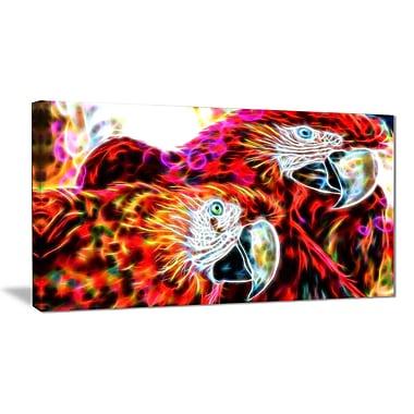 Designart Macaw Parrot Duo Animal Art Canvas, Multiple Sizes, (PT2441-32-16)