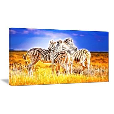 Designart – Imprimé d'animaux sur toile, duo de zèbres, 40 x 20 po (PT2442-40-20)