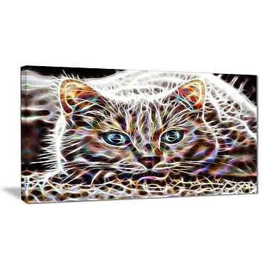 Designart Cat Nap Abstract Cat Animal Canvas, Multiple Sizes, (PT2443-32-16)