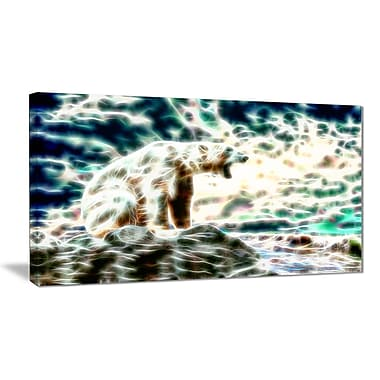 Designart Roar of the Polar Bear Animal Canvas Art, Multiple Sizes, (PT2448-32x16)