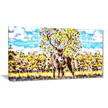Designart Deer in the Woods Animal Canvas, Multiple Sizes, (PT2449-32x16)