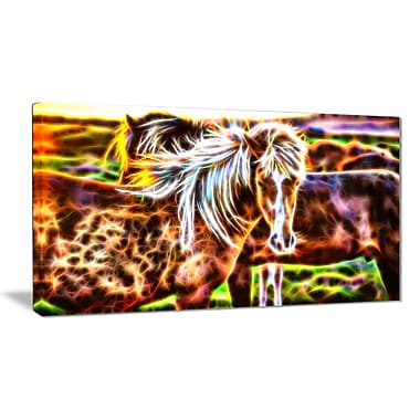 Designart Horse Embrace Animal Canvas Art, Multiple Sizes, (PT2450-32x16)