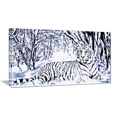 Designart White Tiger White Forest Artwork, Multiple Sizes, (PT2451-32x16)