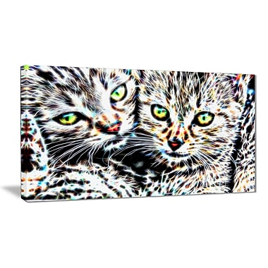 Designart Cuddling Kittens Animal Art Canvas, Multiple Sizes, (PT2452-32x16)