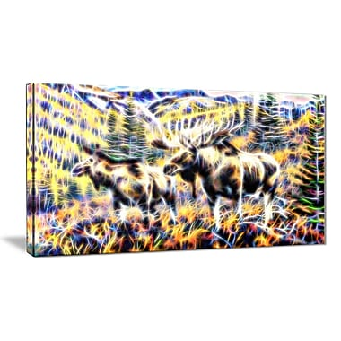 Designart Moose in the Forest 32x16