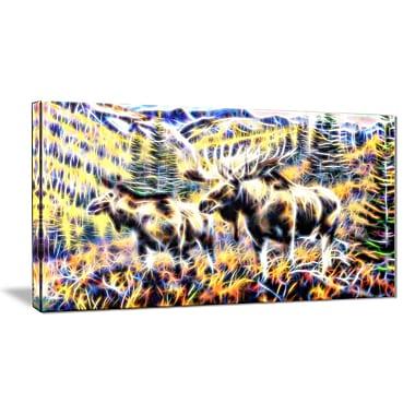 Designart – Orignal dans la forêt, 32 x16 po, imprimé sur toile (PT2459-32x16)