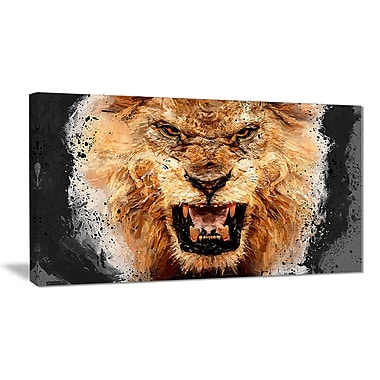 Designart Be Fierce Lion Canvas Art Print, (PT2469-32-16)