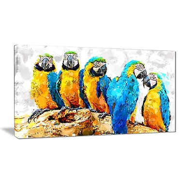 Designart Desgin Art Parrot Party Canvas Art Print, (PT2491-32-16)