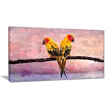 Designart – Toile imprimée, Perroquets colorés perchés sur une branche, 40 x 20 po (PT2493-40-20)