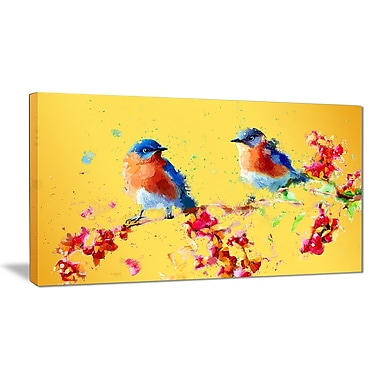 Designart Yellow Blue Birds Canvas Art Print, (PT2495-2-32-16)