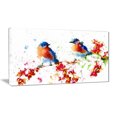 Designart Blue Birds Canvas Art Print, (PT2495-32-16)