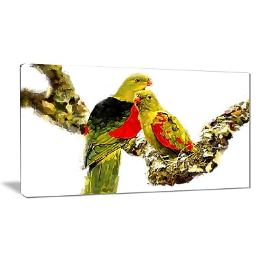 Designart Budgies in Love Canvas Art Print, (PT2496-32-16)