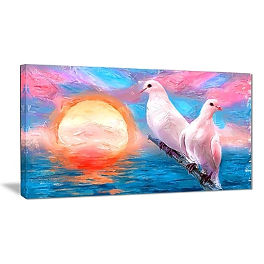 Designart Doves at Sunset Canvas Art Print, 40